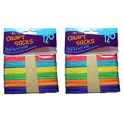 Darice 9150-82 Wood Craft Colored Stick, 4-1/2-Inch, 2 Packs of 120-Each Pack, Total 240 ()
