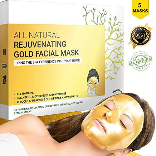 Gold Face Mask, Best Collagen Facial Sheet Mask for Anti Aging, Moisturizing, Wrinkles and Dark Circles Treatment | Made with Hydrogel, Hyaluronic Acid and 24K Nano Gold | Formulated in San Francisco