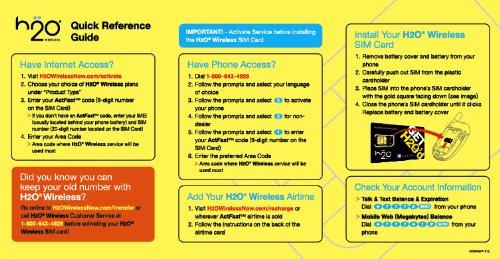 Brand New H20 Wireless Smart 2-in-1 SIM card (Micro/Standard size) (lot of 25)