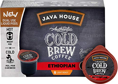 - JAVA HOUSE Authentic Cold Brew Coffee Ethiopian K-Cup Coffee Pods (12 Count) Serve Hot or Cold