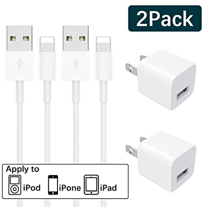 2-Pack MFi Certified iPhone Charger Charging Cable and USB Wall Adapter Plug Block Lightning Cable Compatible iPhone X/8/8 Plus/7/7 Plus/6/6S/6 ...