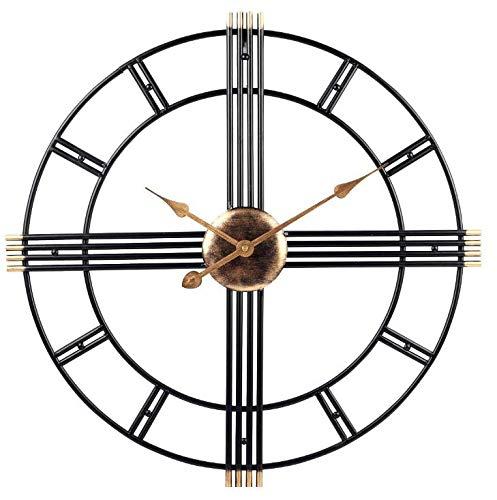 Vintage Metal Leather Thong - Metal Black Skeleton Wall Clock Vintage 50cm Wall Clock, Silent Non-Ticking, Unique Elegant Design, Great for lounges, Kitchens, Pubs, lofts, cafes