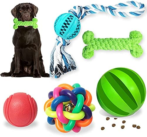5Pcs Dog Toys of Teething, Puppy Dog Chew Toys Teething Training, Durable Rubber Fun Interactive Toys for Boredom for Large And Small Dogs
