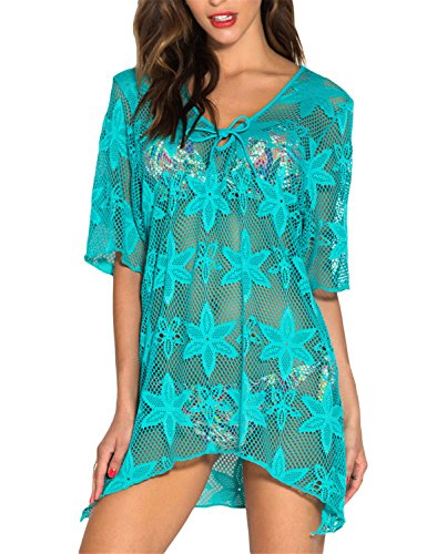 Bang-pa Sexy Beach Dress Bikini Cover Up Swimwear Black Hollow Out Swim Crochet Kaftan Cover Up With Embroidery Green - The Crossings Stores Pa