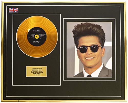 EC Bruno Mars/Mini Metal Gold DISC & Photo Display/Limited Edition/COA/ 24K Magic