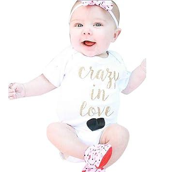 feiXIANG Ropa Infantil Bebé recién Nacido Bebé Niña Cartas Mono de Manga Corta Liebre Unisex Mono de bebé Mono de bebé Mono de Navidad Bebé recién Nacido ...