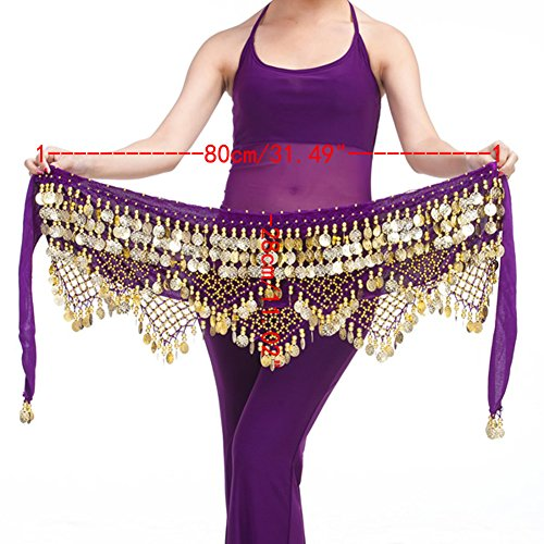 Saymequeen Belly Dancing Dance Waist Chain Hip Scarf Skirt Belt With 320 Coins (dark purple & gold coins) for $<!--$19.39-->