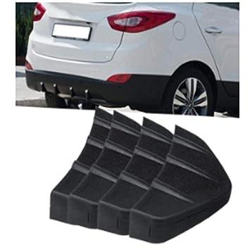 Welltobuy Parachoques Trasero Universal 4 Aletas Difusor Aleta Negro para Honda Acura Negro