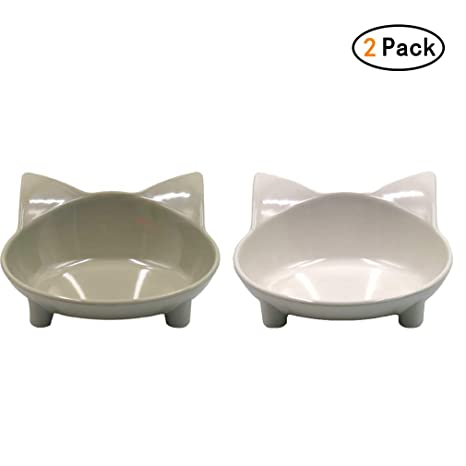 Chenqi 2 Piezas de Comida para Mascotas del Gato, Plato de ...