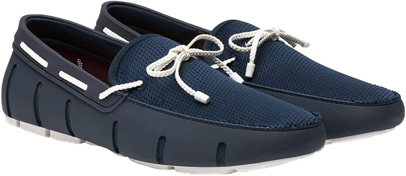 323c21dd9e9 SWIMS Men s Braided Lace Loafer Navy White 7 M ...