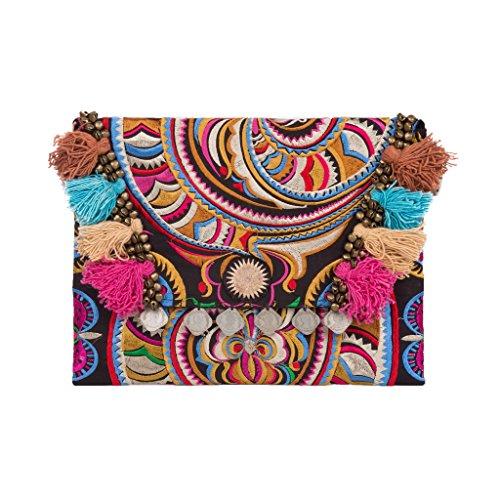 Changnoi Handmade Boho Clutch Bag with Flower Embroidery Decorative Tassels (Snake 1 Black)