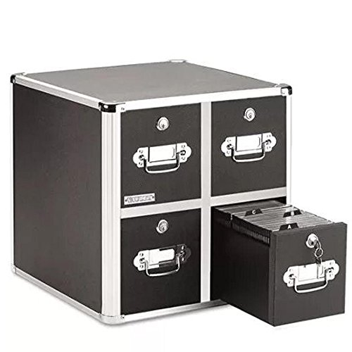 Vaultz Four-Drawer CD File w/Key - Drawer Vaultz Cd Cabinet 4