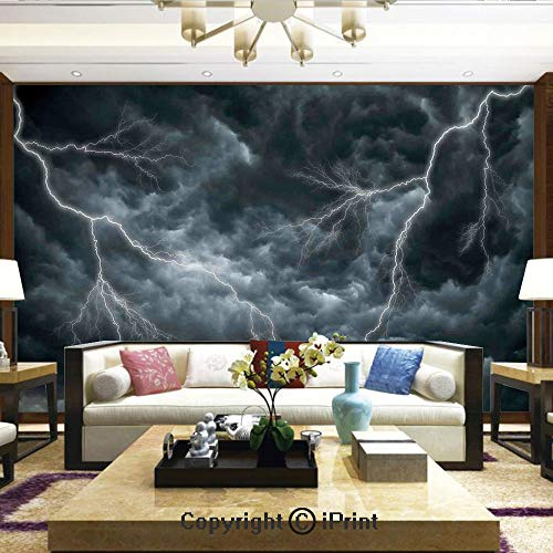 Lionpapa_mural Wall Decoration Designs for Bedroom,Kitchen,Self-AdhesiveLarge Ominous Dramatic Rain Clouds with Heavy Lightning Tornado Wild Atmosphere Effects,Home Decor - 100x144 inches
