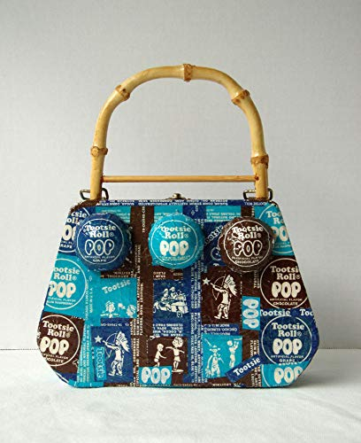 (Pop Art Box Purse Blue Brown Bag Recycled Candy Wrapper Textured Novelty Handbag with Bamboo Handle)