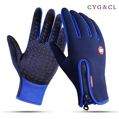 - CYG&CL Outdoor Winter Touchscreen Waterproof Warm Adjustable Size Gloves for Running, Hiking, Clamming, Skiing, Cycling, Driving for Men & Women (Extra Large, Blue)
