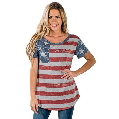 Flag Cotton Rugby Shirt - TOPUNDER 2018 Womens Print T-Shirt American Flag Tops Sexy Short Sleeve Blouse Tee (Red, XX-Large)