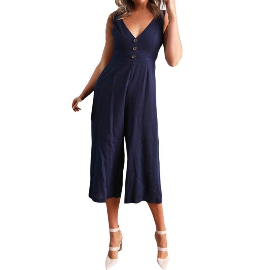 Lazzboy Women V Neck Sleeveless Wide Leg Pant Jumpsuit Clubwear Playsuit: Amazon.co.uk: Clothing