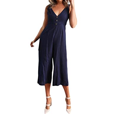 Lazzboy Women V Neck Sleeveless Wide Leg Pant Jumpsuit Clubwear Playsuit (S,Blue)