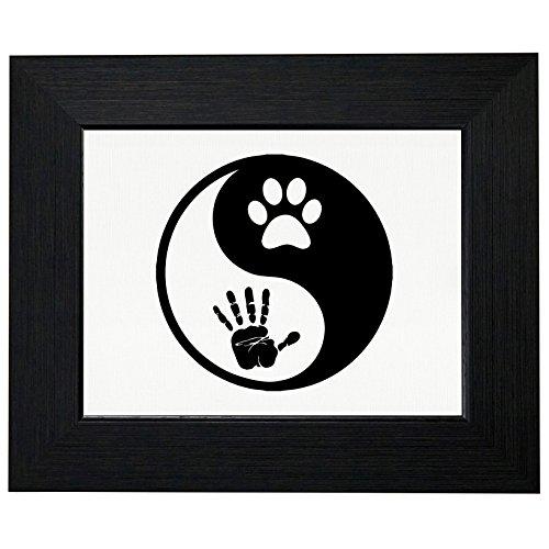 Yin & Yang - Hand Print & Paw Print - Dog Lover Framed Print Poster Wall or Desk Mount Options (Framed Prints Dog)