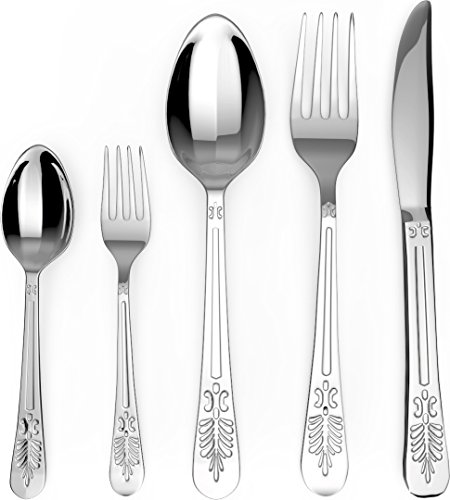 Flatware Set - Sterling Quality - Royal Cutlery - Multipurpose Use for Home, Kitchen or Restaurant (20 Pc Flatware Set) - by Utopia Kitchen - Tableware
