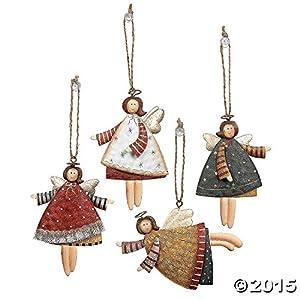 Amazon.com: Lot of 12 Dancing Tin Angels Christmas Tree Ornaments ...