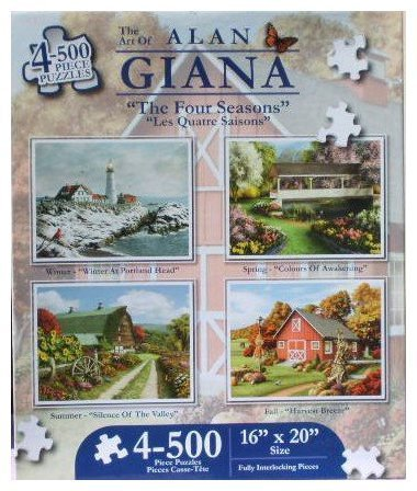 Karmin International The Four Seasons 500-Piece Jigsaw Puzzle, 4-Pack