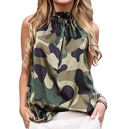 LilyCoco Women's Halter Neck Blouse Sleeveless Casual Tank Top Bow Tie Top (Small, -