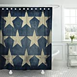 Emvency Shower Curtain Blue Americana Antique Flag Detail Stars Patriotic America July Waterproof Polyester Fabric 72 x 78 Inches Set with Hooks
