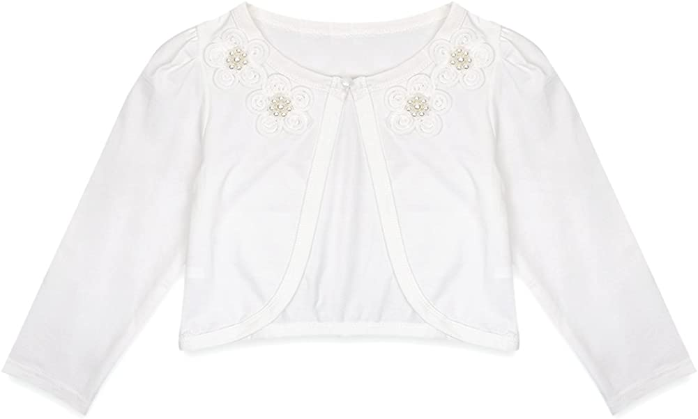 MSemis Kids Girls Long Sleeve Cardigan Floral Lace Beaded One Button Closure Bolero Shrug Jacket Crop Tops Coat