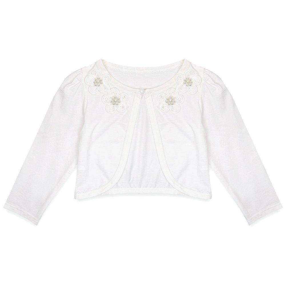 CHICTRY Little Girls' Long Sleeve Beaded Lace Bolero Cardigan Flower Girl Shrug Dress Cover Up Flower Ivory 7-8