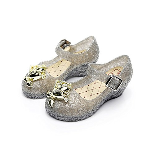Kinggolder Summer Girls Sandals Gold Flower Children's Princess Shoes Wedge Breathable Girls Sandals Shoes Kids Casual Shoes Black 9