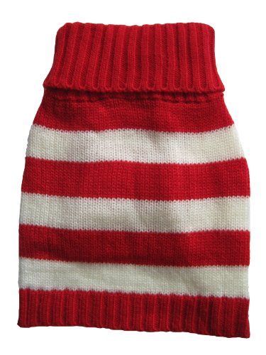 - Vedem Small Pet Dog Turtleneck Striped Knit Sweater Coat (Red/White, S)