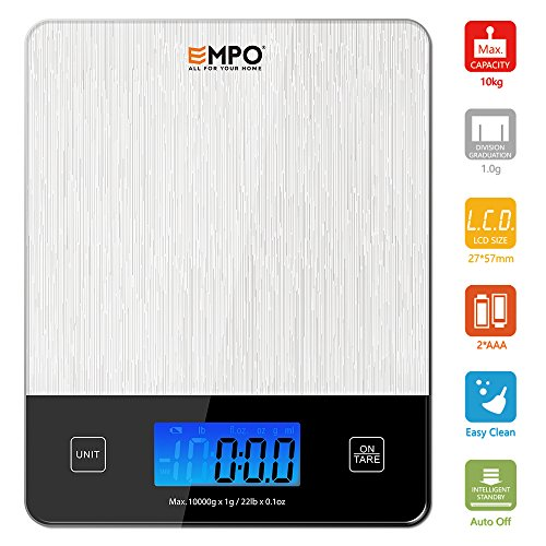 Professional Digital Kitchen Scale EMPO® Food Scale with Tempered Glass - LIFETIME WARRANTY - High Accuracy Electronic Cooking Scale with Large LCD...