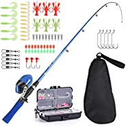 LEO Kid's Fishing Pole,Light and Portable Telescopic Boy Girl Fishing Rod Spincast Reel Combos with Full K