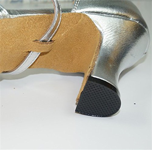 M Shoes Dance Mid Latin Silver Tango Ballroom US Heel PU Leather Women's 8 Miyoopark 7AHBvv