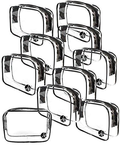 JAVOedge (10 PACK) PVC Transparent Vinyl Zipper Cosmetic, Toiletry Bag (7.1