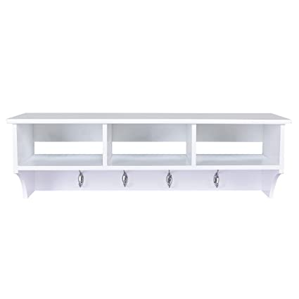 Charmant Amazon.com: White Wall Mount Coat Rack Storage Shelf Cubby Organizer Hooks  Entryway Hallway: Home U0026 Kitchen