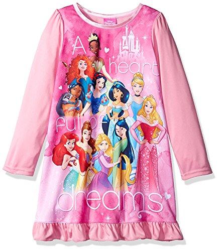 Disney Little Girls' Multi-Princess Nightgown, Pink, (Disney Princess Gowns For Kids)