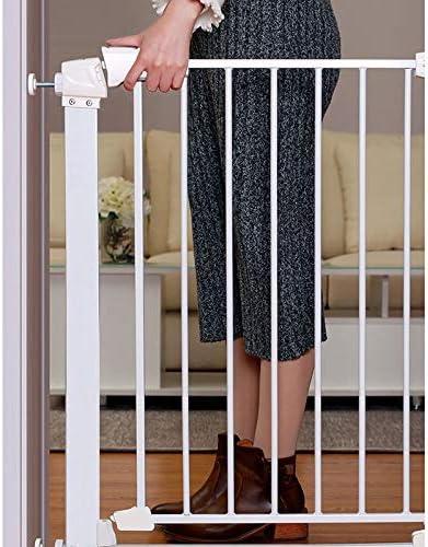 Huo Extra Ancho Blanco Metal Mascota Barrera de Seguridad para Escaleras En Interiores, Montado A Presión, Puerta de Bebé/Perro/Gato (Size : 107-112cm): Amazon.es: Hogar