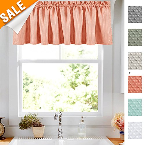 Lazzzy Waffle-Weave Textured Valance for Kitchen Water Repellent Bathroom Half Window Curtains 1 Panel 18 Inch, Pink Coral (And Kitchen Valances Curtains)