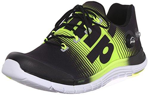 Reebok Men's Zpump Fusion Running Shoe, Black/Solar Yellow/White, 8 M US