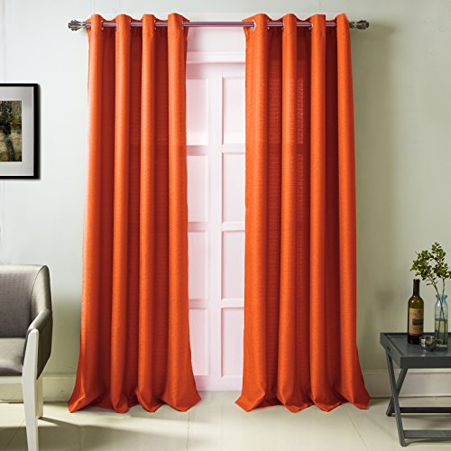 - RT Designers Collection Madrid Textured 54 x 84 in. Grommet Single Curtain Panel, Orange,