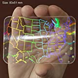 6 ALL STATES SECURED ID CARD USA ID Hologram Overlay Sticker 3D with Micro Secure Technology SHID-17 ''USA All States ID Secured''