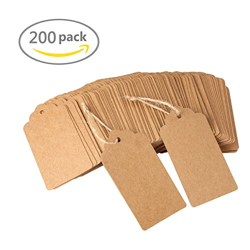 200pcs Kraft Paper Gift Tags with Free 200 Root Natural Jute Twine(Water Ripple) (200 Gift)