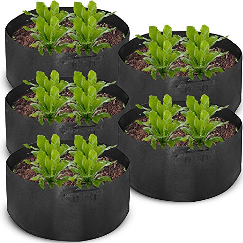 Mophorn 5-Pack 200 Gallon Plant Grow Bag Aeration Fabric Pots with Handles Black Grow Bag Plant Container for Garden Planting Washable and Reusable (5-Pack 200 Gallon)