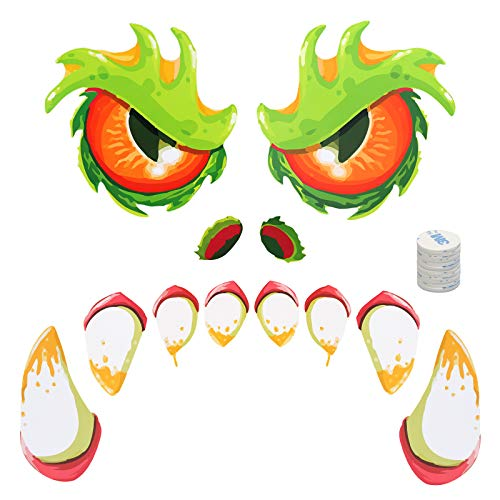 ZERHOK Halloween Monster Face Decorations Outdoor Mad Monster Face Decals Waterproof Door Stickers with Eyes Nose Teeth for Halloween Party Ghost Decoration Haunted House Masquerade Night