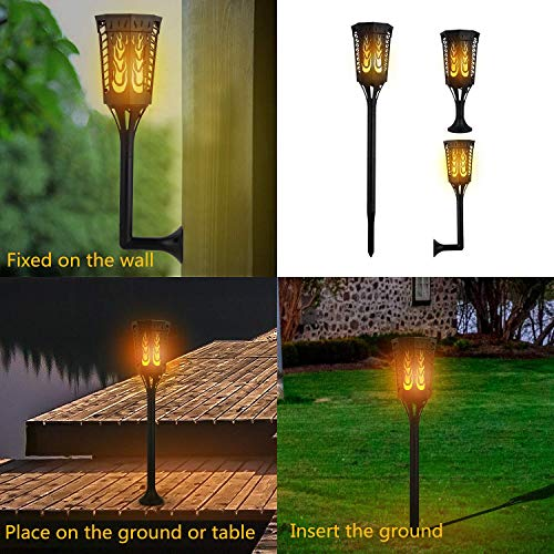 Sailnovo Solar Torch Light Flickering Flame Outdoor Dancing Flickering Flame Tiki Lights 4 Usage Modes 96 LED IP65 Waterproof Landscape Lighting Dusk to Dawn Auto On/Off Backyard Decoration 2 Pack by Sailnovo (Image #2)