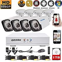 Eyedea 1080P L 4 CH Motion Detection Remote Phone View DVR 2.0MP 5500TVL Bullet Outdoor Night Vision Video Surveillance CCTV Security Camera System 1TB