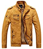 BuZaiYouYu Men's Casual Stand Collar Zip-Up Faux Leather Jacket with Fleece Lined YellowXX-Large Fashion