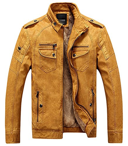 BuZaiYouYu Men's Casual Stand Collar Zip-Up Faux Leather Jacket with Fleece Lined YellowX-Large (Yankees Leather Jacket)